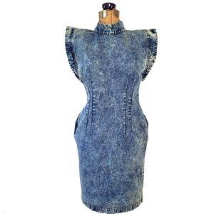Vintage 80's acid wash denim dress